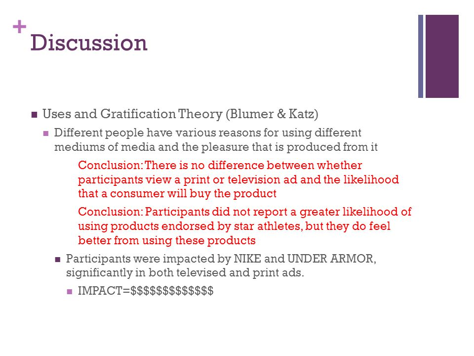 + Discussion Uses and Gratification Theory (Blumer & Katz) Different people have various reasons for using different mediums of media and the pleasure that is produced from it Conclusion: There is no difference between whether participants view a print or television ad and the likelihood that a consumer will buy the product Conclusion: Participants did not report a greater likelihood of using products endorsed by star athletes, but they do feel better from using these products Participants were impacted by NIKE and UNDER ARMOR, significantly in both televised and print ads.