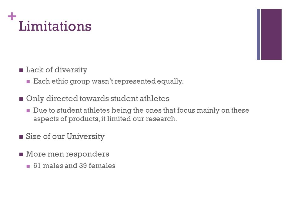 + Limitations Lack of diversity Each ethic group wasn't represented equally.
