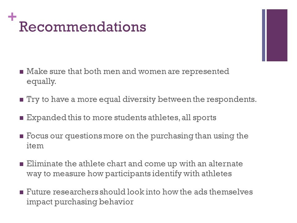 + Recommendations Make sure that both men and women are represented equally.