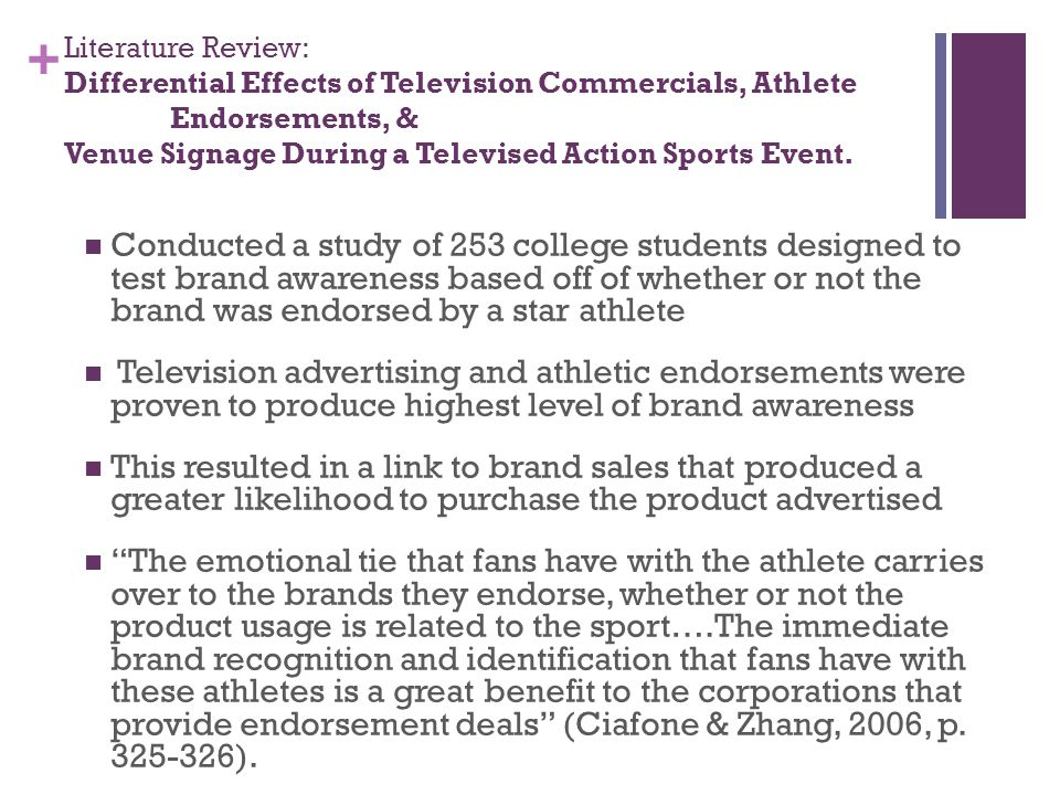 + Literature Review: Differential Effects of Television Commercials, Athlete Endorsements, & Venue Signage During a Televised Action Sports Event.