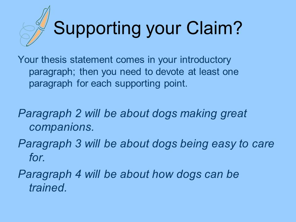 What kinds of supporting paragraphs can I use to support a thesis statement in a persuasive essay?
