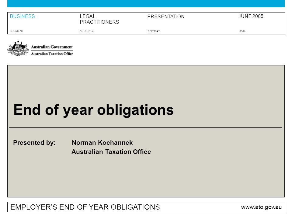 Presented By Australian Taxation Office Employers End Of Year