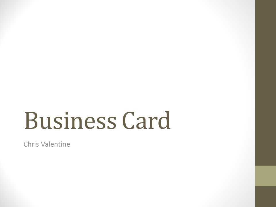 1 Business Card Chris Valentine