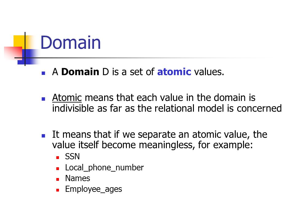 Domain A Domain D is a set of atomic values.