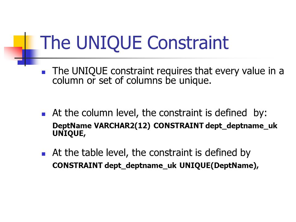 The UNIQUE Constraint The UNIQUE constraint requires that every value in a column or set of columns be unique.