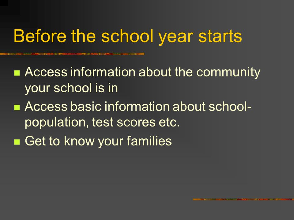Before the school year starts Access information about the community your school is in Access basic information about school- population, test scores etc.