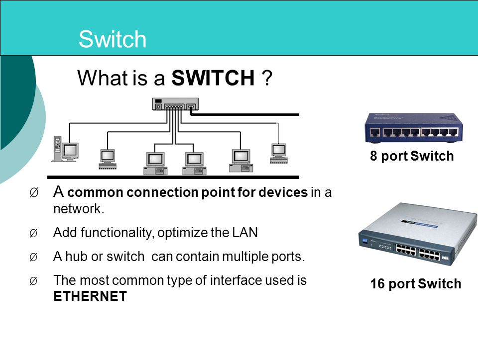 Switch ØA common connection point for devices in a network.