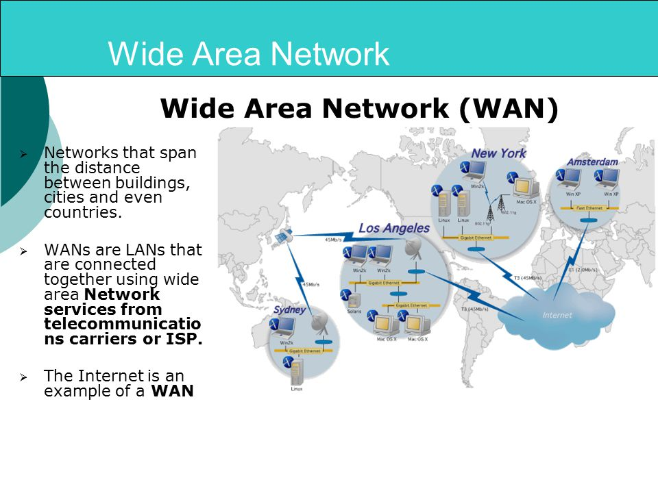 Wide Area Network  Networks that span the distance between buildings, cities and even countries.