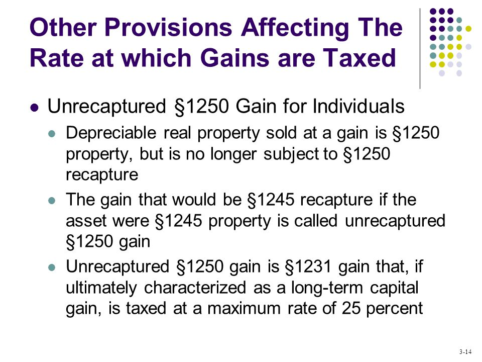 3-14 Other Provisions Affecting The Rate at which Gains are Taxed Unrecaptured §1250 Gain for Individuals Depreciable real property sold at a gain is §1250 property, but is no longer subject to §1250 recapture The gain that would be §1245 recapture if the asset were §1245 property is called unrecaptured §1250 gain Unrecaptured §1250 gain is §1231 gain that, if ultimately characterized as a long-term capital gain, is taxed at a maximum rate of 25 percent