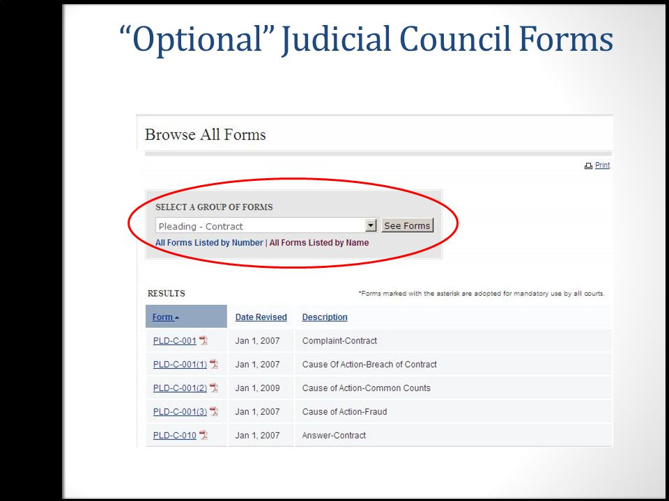 10 U201cOptionalu201d Judicial Council Forms  Judicial Council Form Complaint