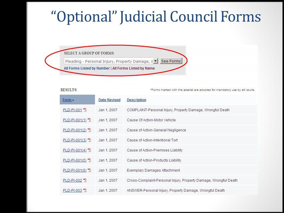 12 Judicial Council Legal Forms List  Http://www.courts.ca.gov/documents/appendix_a.pdf  Http://www.courts.ca.gov/documents/appendix_a.pdf  Judicial Council Form Complaint