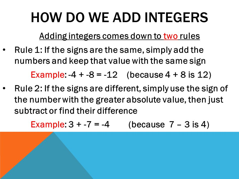 Worksheets Adding Integers Rules ch 2 3 to 6 adding subtracting multiplying and dividing how do we add integers comes down two rules rule 1 if