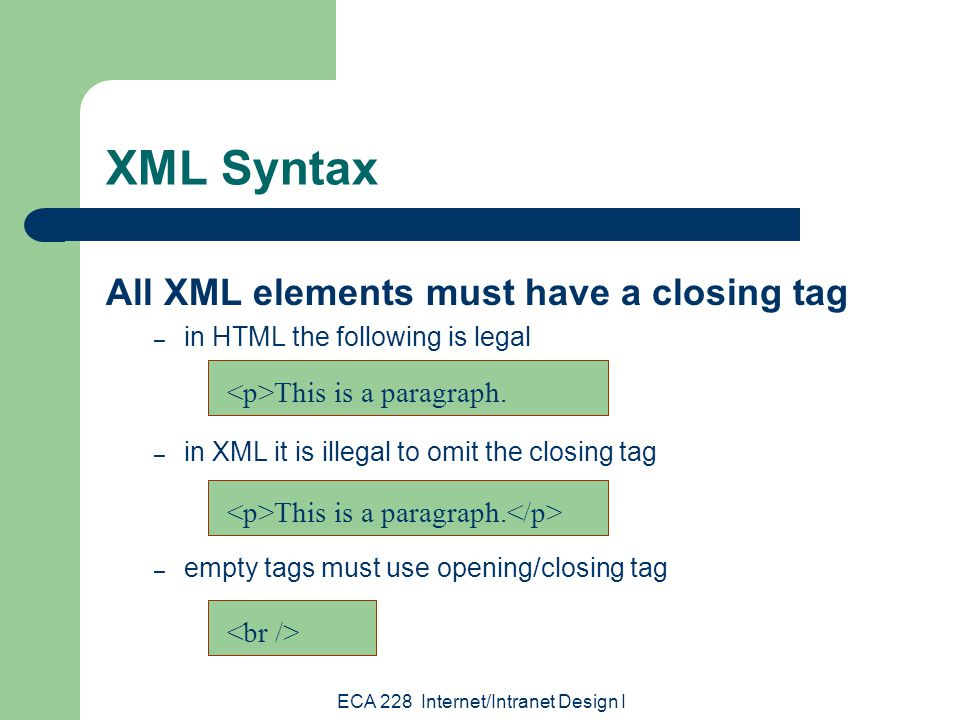 ECA 228 Internet/Intranet Design I XML Syntax All XML elements must have a closing tag – in HTML the following is legal – in XML it is illegal to omit the closing tag – empty tags must use opening/closing tag This is a paragraph.