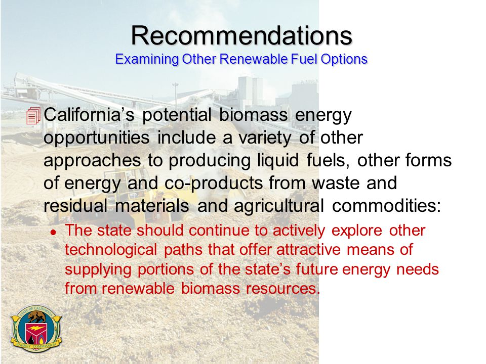 Recommendations Examining Other Renewable Fuel Options 4California's potential biomass energy opportunities include a variety of other approaches to producing liquid fuels, other forms of energy and co-products from waste and residual materials and agricultural commodities: l The state should continue to actively explore other technological paths that offer attractive means of supplying portions of the state's future energy needs from renewable biomass resources.