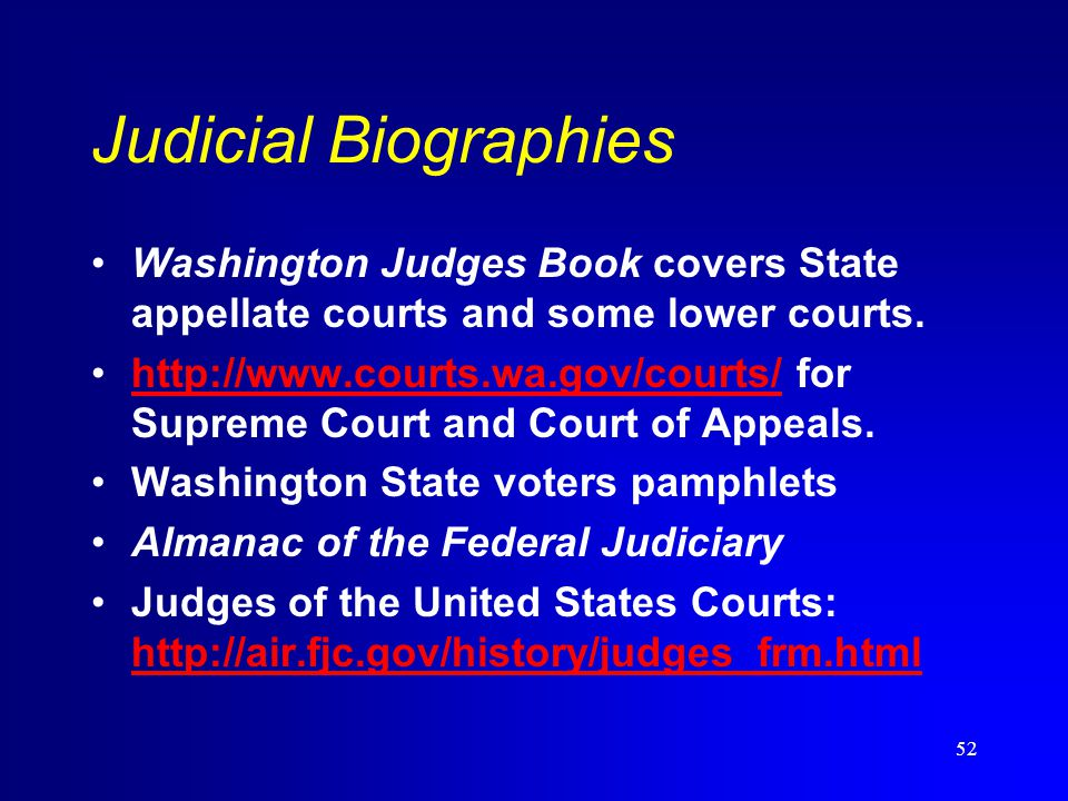 What You Always Wanted To Know About Legal Research But Were - Almanac of the federal judiciary