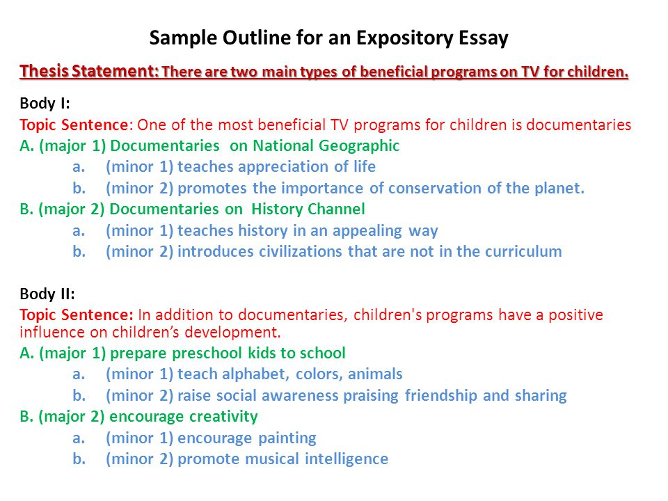 expository essay process pre writing stages the essay process  body i topic sentence one of the most beneficial tv programs for children is