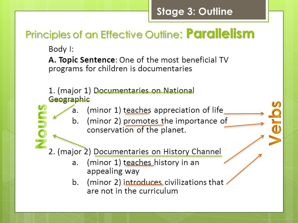 Principles of an Effective Outline : Parallelism Body I: A.