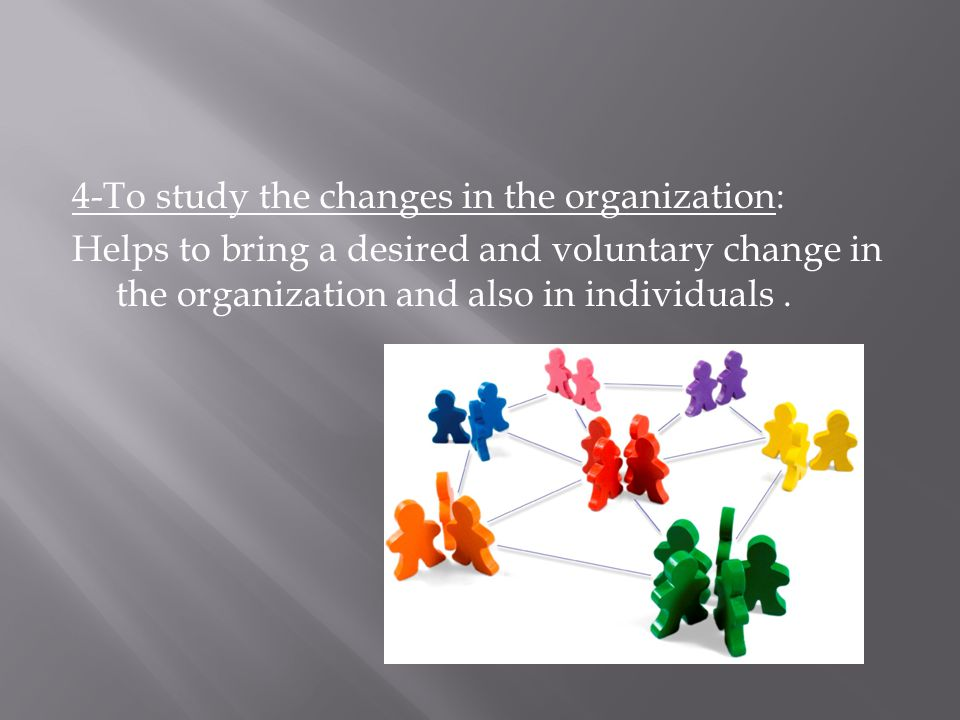 4-To study the changes in the organization: Helps to bring a desired and voluntary change in the organization and also in individuals.
