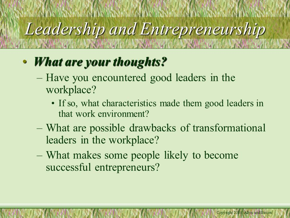 Copyright 2006, Allyn and Bacon Leadership and Entrepreneurship What are your thoughts What are your thoughts.