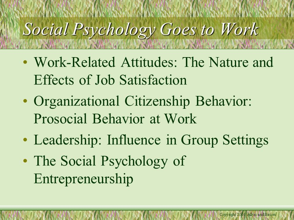 Social Psychology Goes to Work Work-Related Attitudes: The Nature and Effects of Job Satisfaction Organizational Citizenship Behavior: Prosocial Behavior at Work Leadership: Influence in Group Settings The Social Psychology of Entrepreneurship
