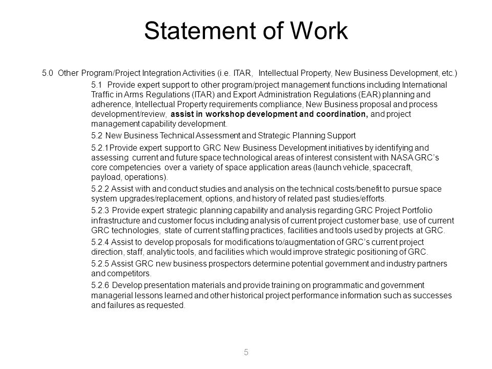 Statement of Work Other Program/Project Integration Activities (i.e.
