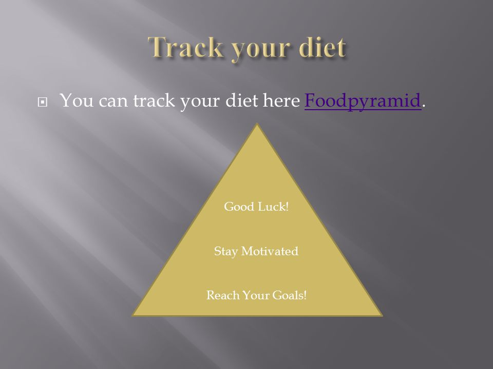  You can track your diet here Foodpyramid.Foodpyramid Good Luck! Stay Motivated Reach Your Goals!