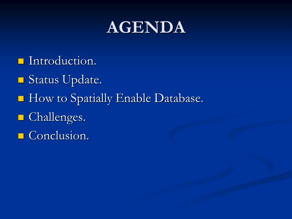 AGENDA Introduction. Introduction. Status Update.