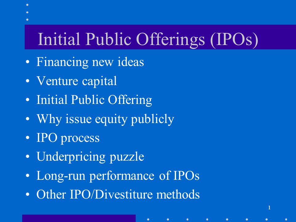 the ipo process essay Initial public offerings, why individuals have difficulty getting shares the underwriters and the company that issues the shares control the ipo process.