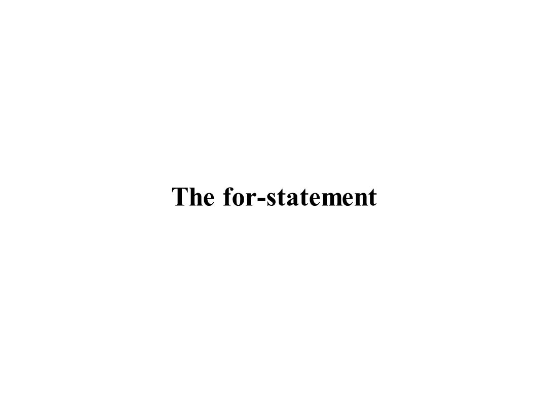 The for-statement