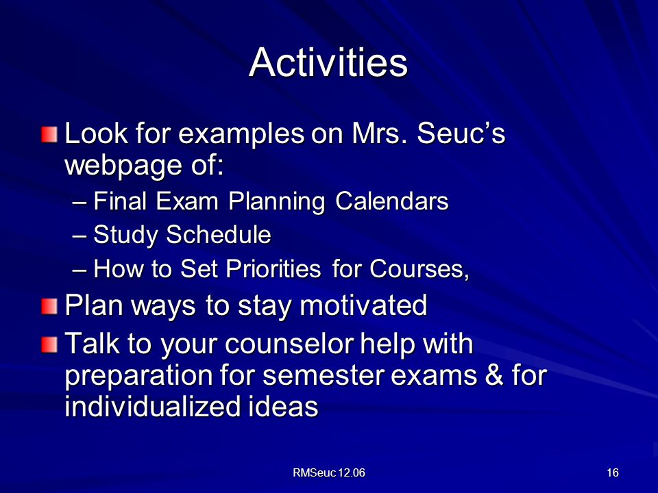 What activities should I do to study for the final?