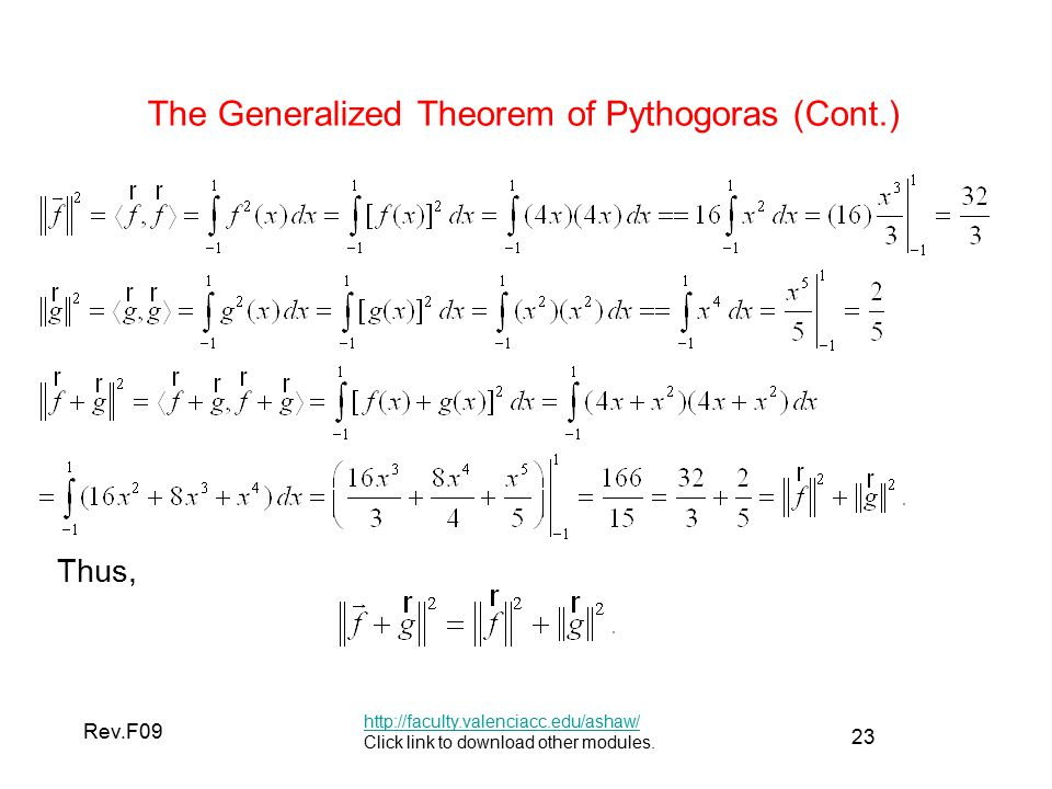 23 Rev.F09 The Generalized Theorem of Pythogoras (Cont.)   Click link to download other modules.