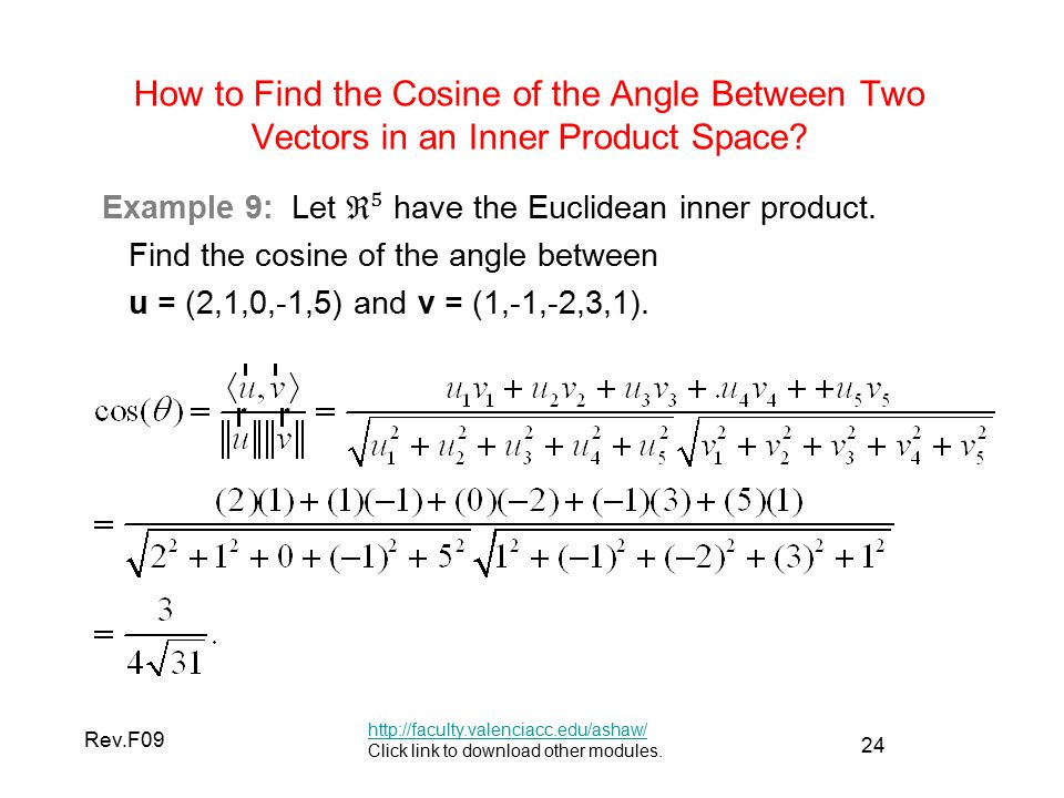 24 Rev.F09 How to Find the Cosine of the Angle Between Two Vectors in an Inner Product Space.