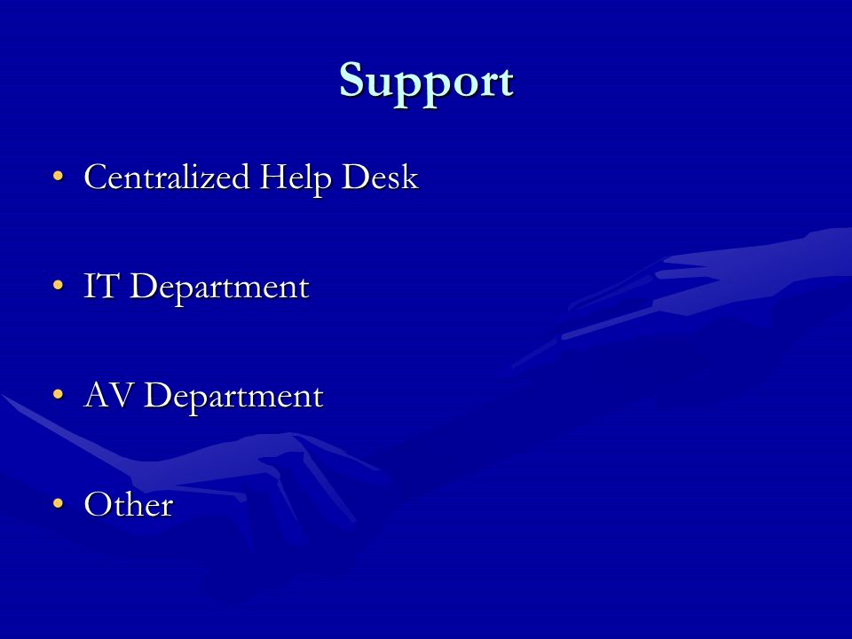 Support Centralized Help DeskCentralized Help Desk IT DepartmentIT Department AV DepartmentAV Department OtherOther