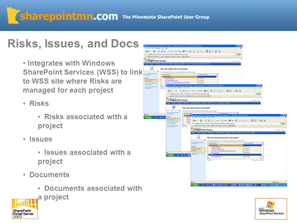 Integrates with Windows SharePoint Services (WSS) to link to WSS site where Risks are managed for each project Risks Risks associated with a project Issues Issues associated with a project Documents Documents associated with a project Risks, Issues, and Docs