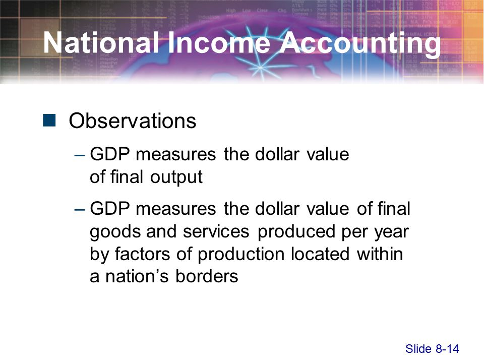 Slide 8-14 National Income Accounting Observations –GDP measures the dollar value of final output –GDP measures the dollar value of final goods and services produced per year by factors of production located within a nation's borders