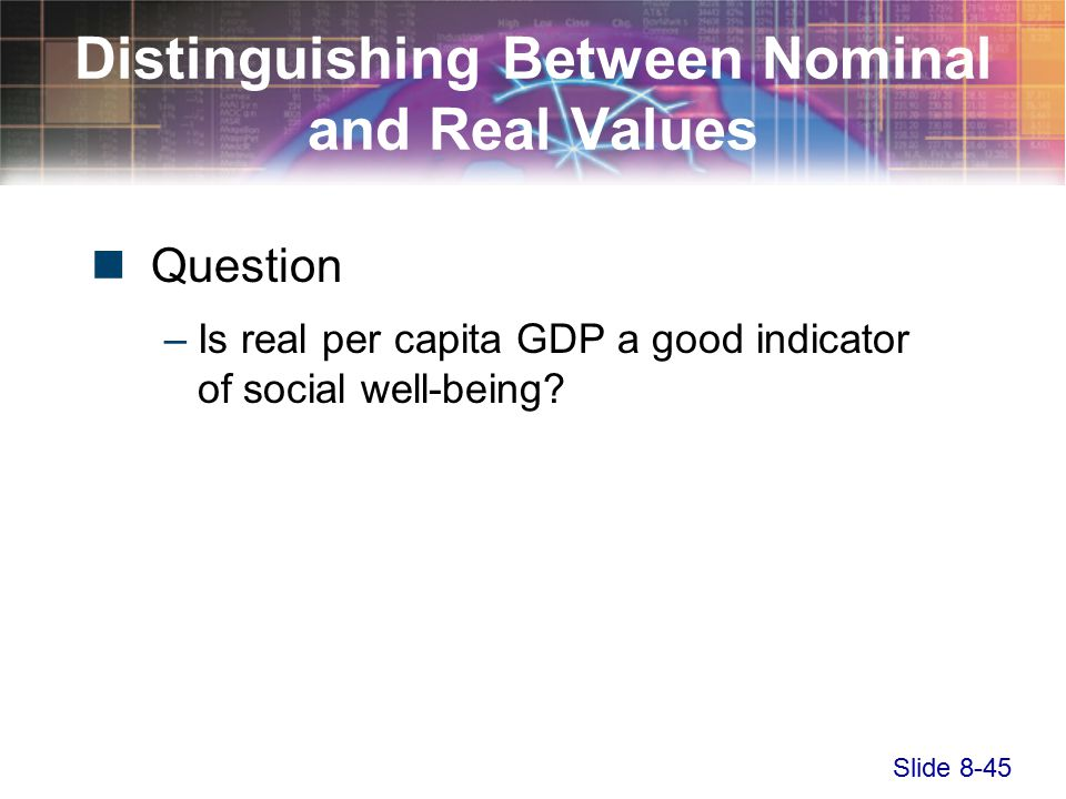 Slide 8-45 Distinguishing Between Nominal and Real Values Question –Is real per capita GDP a good indicator of social well-being