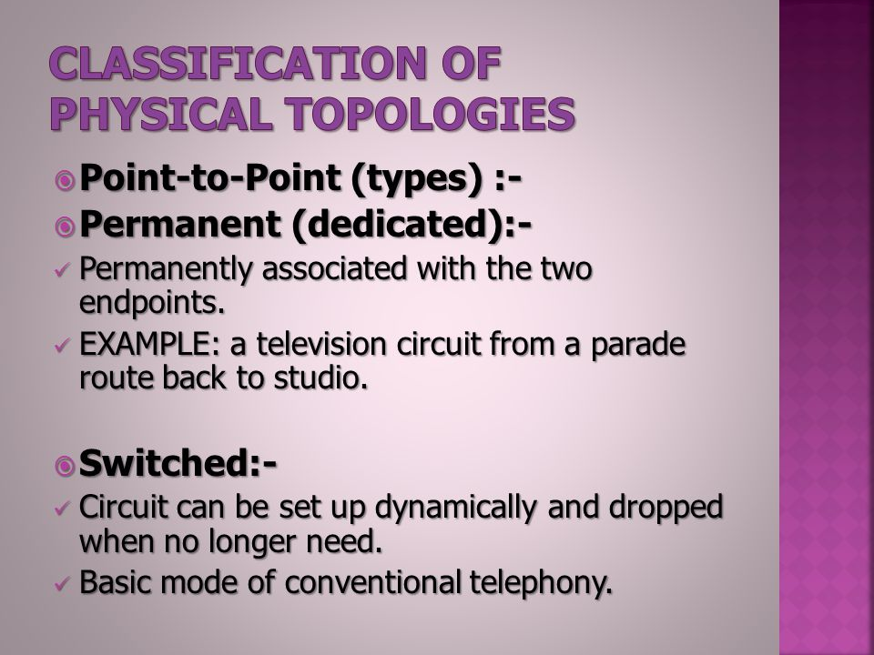  Point-to-Point (types) :-  Permanent (dedicated):- Permanently associated with the two endpoints.