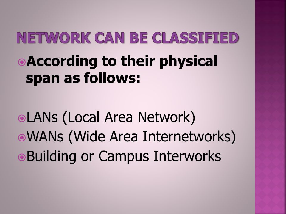  According to their physical span as follows:  LANs (Local Area Network)  WANs (Wide Area Internetworks)  Building or Campus Interworks