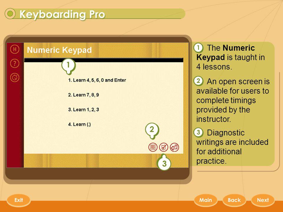Keyboarding Pro 16 The Numeric Keypad is taught in 4 lessons.