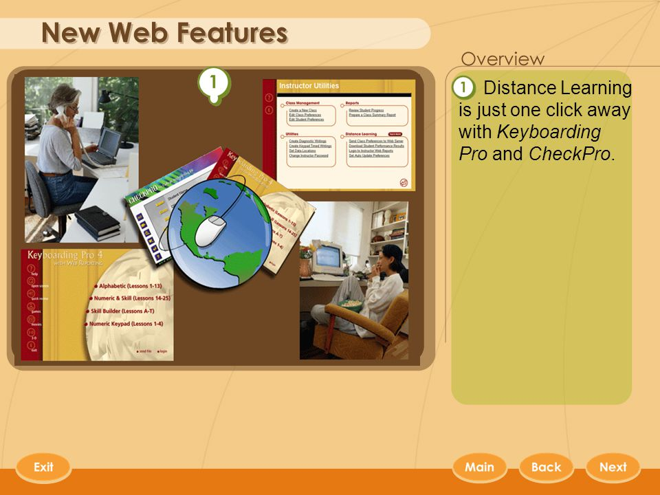 Web Features Distance Learning is just one click away with Keyboarding Pro and CheckPro.