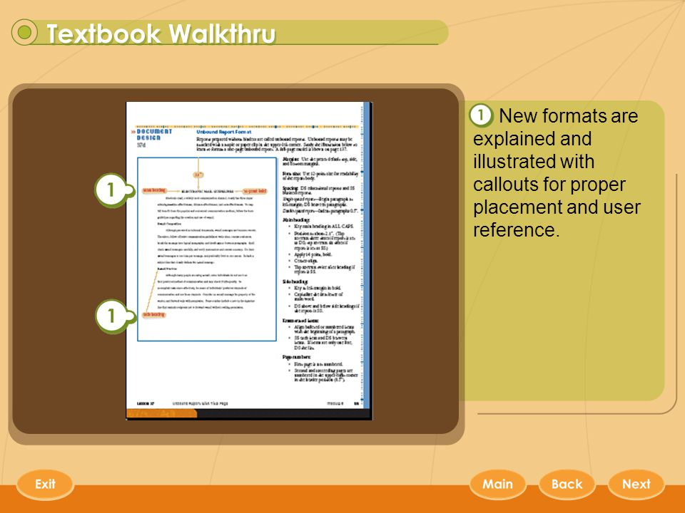Keyboarding Textbooks 6 New formats are explained and illustrated with callouts for proper placement and user reference.