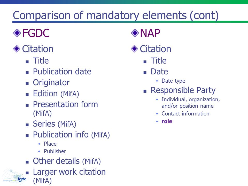 Comparison of mandatory elements (cont) Citation Title Publication date Originator Edition (MifA) Presentation form (MifA) Series (MifA) Publication info (MifA)  Place  Publisher Other details (MifA) Larger work citation (MifA) Citation Title Date  Date type Responsible Party  Individual, organization, and/or position name  Contact information  role FGDCNAP