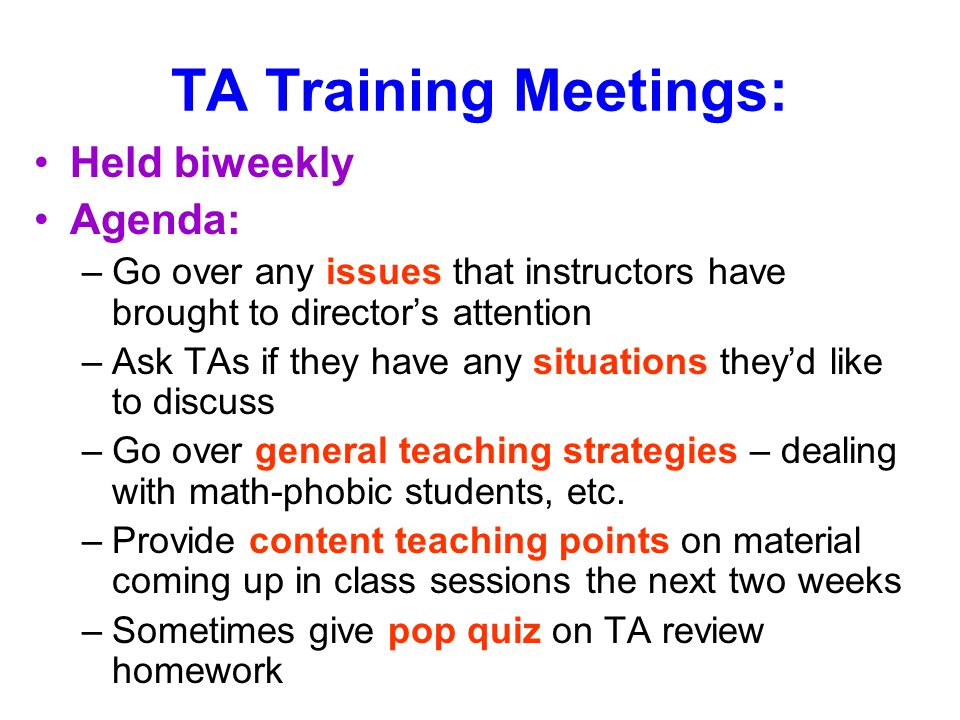 TA Training Meetings: Held biweekly Agenda: –Go over any issues that instructors have brought to director's attention –Ask TAs if they have any situations they'd like to discuss –Go over general teaching strategies – dealing with math-phobic students, etc.