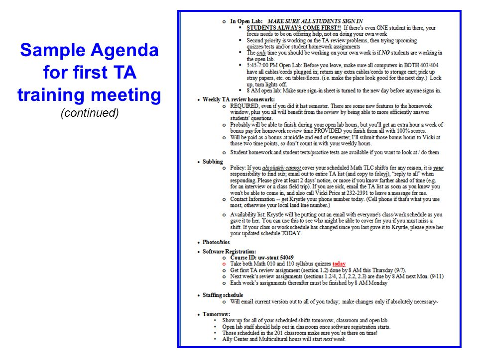 Sample Agenda for first TA training meeting (continued)