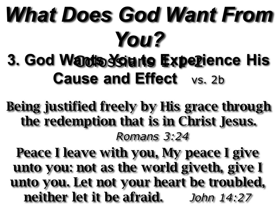 What Does God Want From You. Colossians 1:1-2 What Does God Want From You.