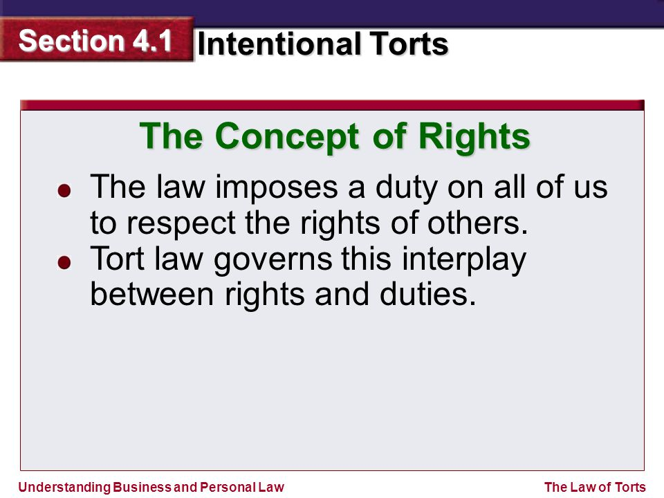 Understanding Business and Personal Law Intentional Torts Section 4.1 The Law of Torts The law imposes a duty on all of us to respect the rights of others.