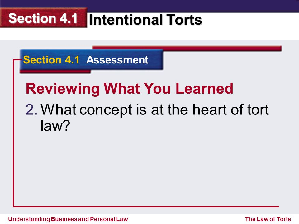 Understanding Business and Personal Law Intentional Torts Section 4.1 The Law of Torts Reviewing What You Learned 2.