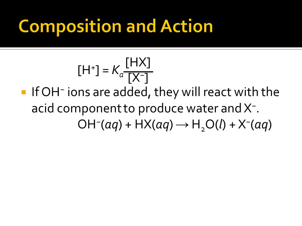 [H + ] = K a  If OH − ions are added, they will react with the acid component to produce water and X −.