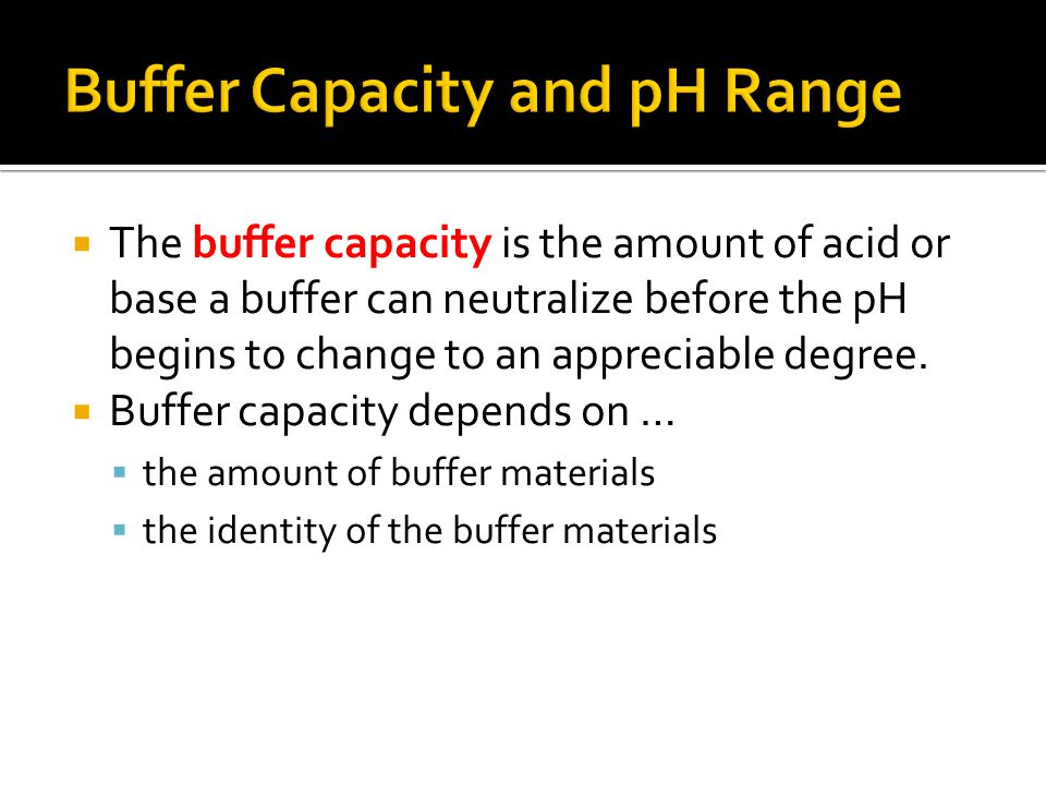  The buffer capacity is the amount of acid or base a buffer can neutralize before the pH begins to change to an appreciable degree.