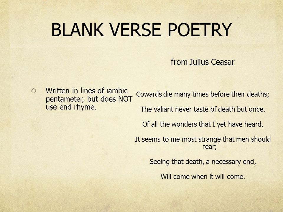 Example of famous blank verse poem?